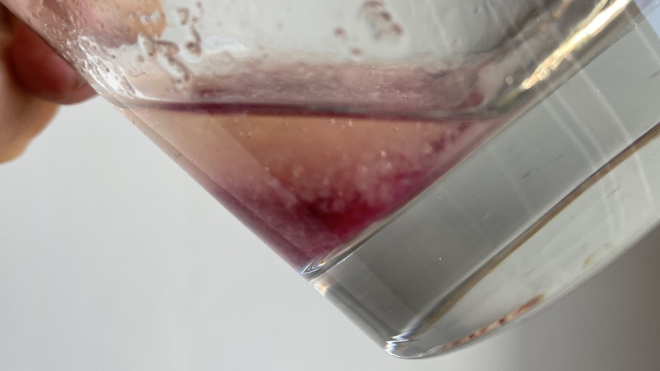 Strong purple clot formed during the pectin test