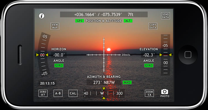 Screenshot of a theodolite app