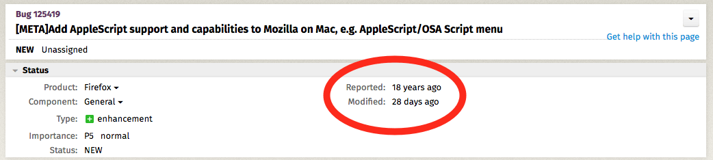 screen grab of 18-year-old bug report in Mozilla