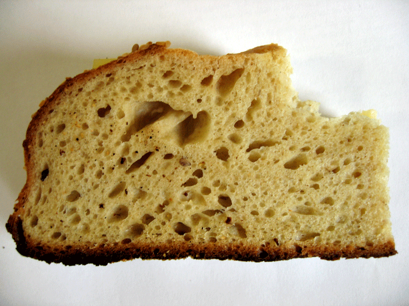 Crumb of oatmeal sesame loaf